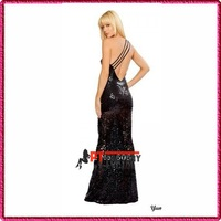prom dresses black Blink Fiber Mermaid Long Gown Clubwear Single Shoulder evening dress VS