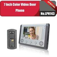 No.LPN143  Free shipping visible doorbell 7 inch color video door phone/video doorbell Kit 1 camera+1 monitors