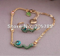 Fashion Jewelry set rhinestone green snake anklets &toe rings alloy foot chain ladies summer jewelry 6sets/lot free shipping(China (Mainland))