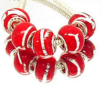 Min.order is $10( mix order ) T38 FREE SHIPPING Lampwork red Glass Spacer European Bead Charms 5pcs