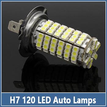 Hot Sales 2Pcs/lot Car Auto 120 LED 3528 1210 SMD H7 Xenon Fog Driving Head Light Lamp Bulb Replace HID Xenon 12V  Free Shipping