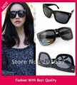 Wholesale and Retail new fashion summer square wome's and men's sunglass star design black glass 12pcs/lot