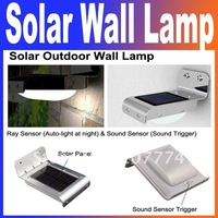 Outdoor Porch Lights Wall Lamp Lamps Solar Powered Outdoor 16 LED Lights Wall Light Ray Sound Sensor corridor lamp Free Shipping