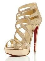 Wholesale New Designer Sexy High Heel Women Pump Shoe/ Glitter Daffodil High Heels Summer Sandals