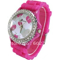 10Pcs Multi Color Crystal Quartz Jelly Geneva  Silicone Ladies Girls Leisure Wrist Watch  001