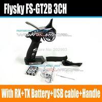 Flysky Newest FS-GT2B FS GT2B 2.4G 3CH Gun RC Controller /w receiver, TX battery, USB cable, handle --Upgraded FS-GT2 GT2
