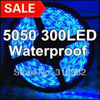 Free shipping, 5M 5050 60LED/M 300LED Blue Waterproof, 12V Flexible led lighting strip, SMD 5050 bule silicon gel led strip