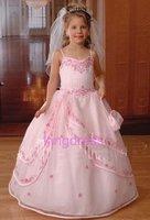 Flower Gril Dresses !2012 Matching Off-the-shoulder chiffon ankle length Stole Party Dresses Communion Dresses