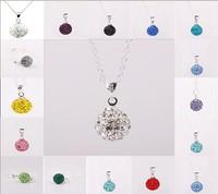 Fashion Jewelry Platinum Plated Shamballa Necklace 10MM Rhinestone Ball White Gold Color Fashion Necklace
