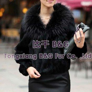 BG11611 7 Colors Genuine Rabbit Fur Jacket with Raccoon Dog Fur Collar Winter Women's Lovely Jackets