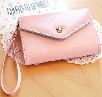 New Arrival Crown smart pouch leather wallet case smart pouch leather handbags for blackberry For iphone 4s 5S For HTC