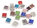 Square Rhinestone Alloy Disco Beads 2mm Hole New Arrival White Gold Plated 100 PCS MiX Color