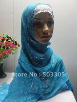 MS12030821 free shipping printed long scarf with silver fabric and fringe,muslim scarf,islamic scarf,muslim hijab,islamic hijab