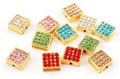 100 PCS MiX Color Square Rhinestone Alloy Disco Beads 2mm Hole New Arrival Gold Plated