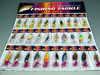 Free EMS! Lot of 300pcs 10card Pack (1set=30pcs) Spinner Spoon Assorted Fishing Lures On Card Baits