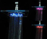 Perfect Design Crystal Temperature Sensing 3Colors(blue,green,red) LED Shower Head,LED Light Rain Shower Head