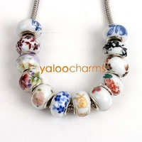 Wholesale-36pcs Assorted Charms Porcelain Ceremic Beads Fit diy Beads Necklace Bracelet handcraft  Free shipping 151749-3