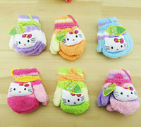 Free Shipping 24pairs/lot Children's Cartoon Bear Kitty Rabbit Gloves Baby Winter Warm Gloves Infant Mitten 0-4 Years