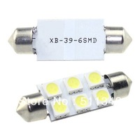 free shipping hot selling 10pcs 39MM 6 SMD 5050 LED white car light bulbs