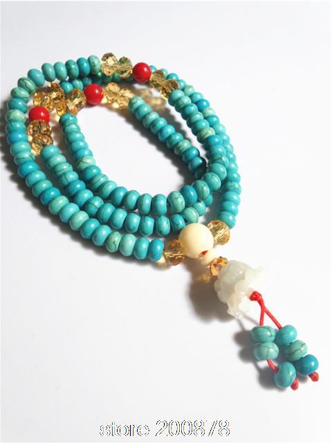 moda bro962 budista 108 mala meditação turquesa tingidos colar de pedra menina cercadura pulseiras(China (Mainland))