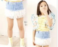 Free shipping High-grade fashion denim lace skirt,girls skirts children's clothing wholesale