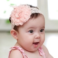 New Arrival BABY Headband Girls Hair Accessories Elastic Flower  Lace Hairwear Free Shipping 30pcs/lot  FD002