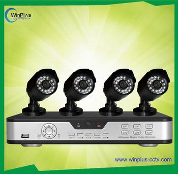 4CH H.264 standalone DVR kit & 4 x IR CCD Camera kit security kit Free Shipping
