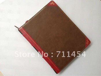 Free shipping popular book style leather pouch bag cover Leather case for ipad ipad 2 and 3