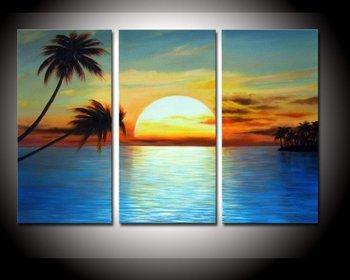 100% Hand painted Golden sky Cloud sunrisecoconut palm landscape Wall  home Decor Oil Painting on canvas 3pcs/set wood Framed