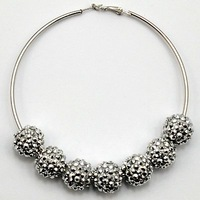 Wholesale Shamballa Hoop Earrings 14mm Resin Rhinestone Beads 20pairs/lot Shambhala Earrings Basketball Wives Earrings