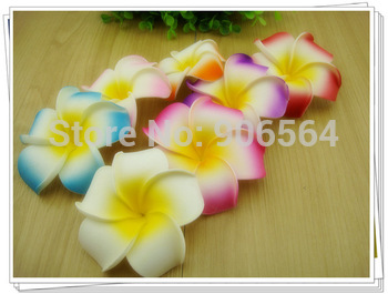 Free shipping multiple Foam Hawaiian Plumeria flower Frangipani Flower bridal hair clip 9CM