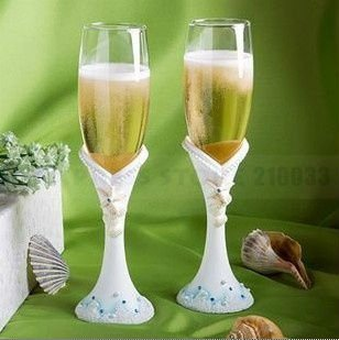 The Beach Theme Glass Flutes in Gift Box for Wedding Ceremony Favors Party Stuff Supplies Free Shipping(China (Mainland))