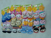 Free Shipping Lovely Baby Carton Slipper Socks Kids Home Shoes for 0-2Year Old  Kids Footwear12 Models Mixed
