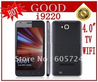 "New 4.0"" Touch Screen Quad Band Dual SIM TV WIFI Mobile Phone I9220 Free shipping"