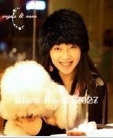 Freeshipping Hand knitting Genuine Rabbit Fur Hat/female women lady/winter/warmWholesale / Real //cap /headdress