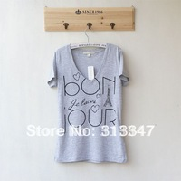 2 COLORS! summer fashion 100% Pure cotton V-neck loose Women short-sleeve plus size t-shirt blue gray T114