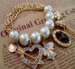 braclets Bride Jewelry Big White Pearl Chain Bracelet gold choker Bangles Free Shipping B001(China (Mainland))