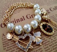 BS005  braclets Bride Jewelry Big White Pearl Chain Bracelet gold choker Bangles Free Shipping M/G