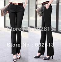 Plus Size High Elegant Casual Female Straight Pants OL Cotton Slim Long Trousers Black Women Free Shipping