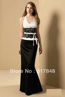 2013 latest freeshipping white and black halter lace bow sash floor length satin prom evening wedding bridesmaid dresses ED136