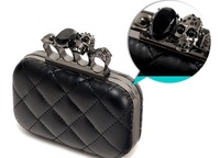 2014 vintage Skull purse,Black Skull Knuckle Rings Handbag Clutch Evening Bag With shoulder Chain Perfect free shopping EB085
