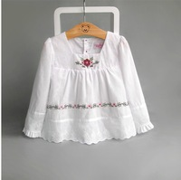 CS0022  girls  blouses, children embroidery blouse,white,children shirts,long sleeve