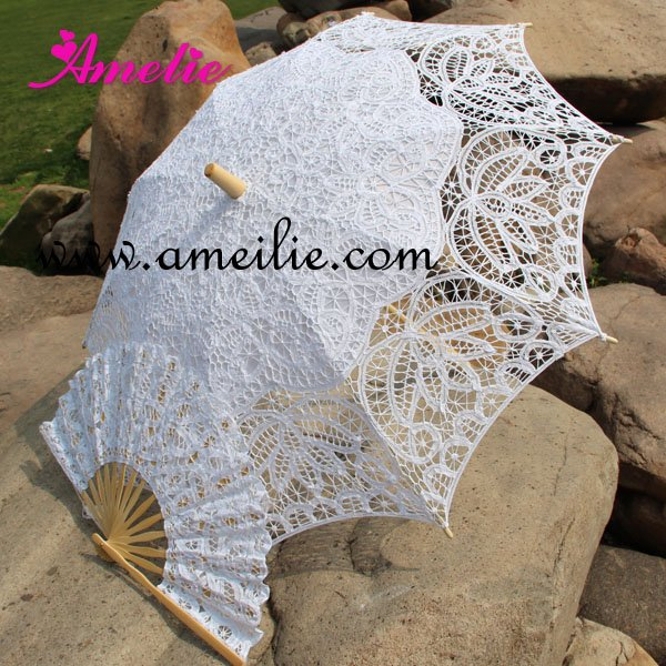Free Shipping Lace Fan And Wedding Umbrella Lace Parasols(China (Mainland))