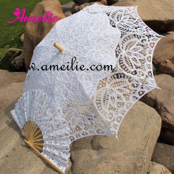 Free Shipping Lace Fan And Wedding Umbrella Lace Parasols(China (Mainland))