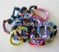 Free Shipping 30pcs OPP Packaging - Germanium Titanium Twisted Tornado Sports Energy 3 Rope Bracelet Band Braided Bangle