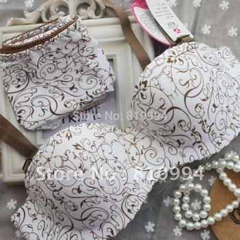 free shipping stripe one piece seamless push up bra set women's underwear set wholesale&retail
