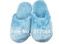 Free Shipping Blue/Pink Heating Slippers with free size SHOES