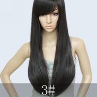 Hi-quality Brazian Blended hair,26inch 200G Silky Straight Cheap Full Wigs Natural black,free shipping