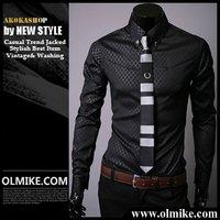 Free Shipping Casual Slim Fit Stylish cotton Men's Long Sleeve dress shirts Luxury casual shirt White/ Blue/ black M - XXXL C011