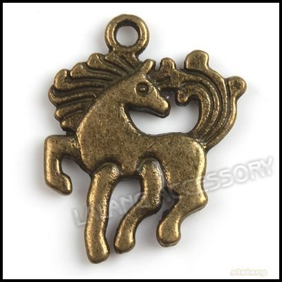 105X Antique Bronze Running Horse Pendants Wholesale Zinc Alloy Charms Jewelry Findings Fit Necklace Making 24*19*2mm 140570(China (Mainland))